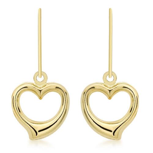 JCK Vegas Collection 9K Yellow Gold Open Heart Drop Hook Earrings