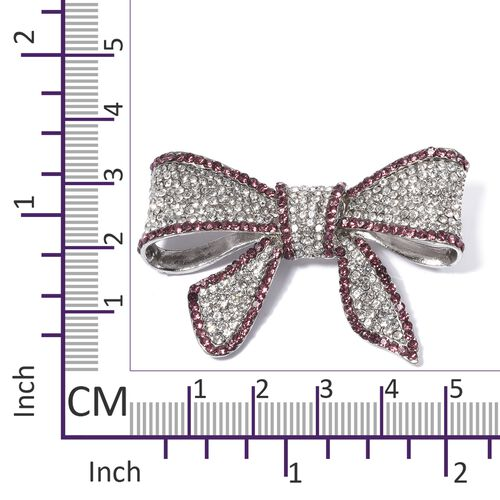 Austrian White and Purple Crystal (Rnd) Bow Brooch in Silver Plated.