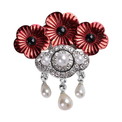 TJC Poppy Design - Simulated Pearl, White Austrian Crystal and Simulated Black Spinel Enamelled Magn