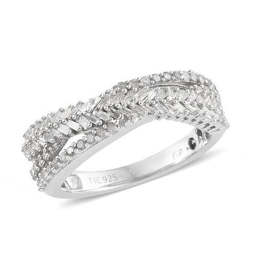 GP Diamond (Rnd), Kanchanaburi Blue Sapphire Ring in Platinum Overlay Sterling Silver 0.535 Ct.
