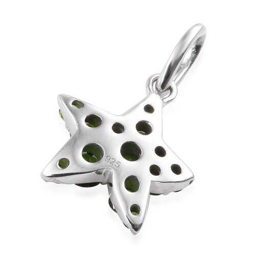Russian Diopside (Rnd) Star Fish Pendant in Platinum Overlay Sterling Silver 1.250 Ct.