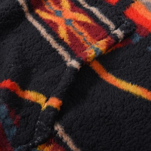 Tribal Pattern Hooded Fleecy Sweatshirt (Size 194x98cm) - Black