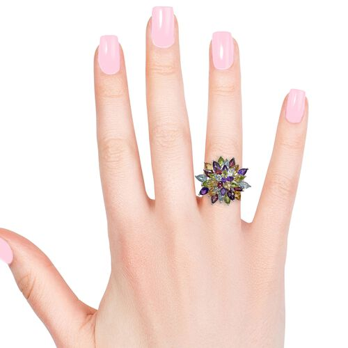 Amethyst (Pear), Hebei Peridot and Multi Gemstone Flower Ring in Platinum Overlay Sterling Silver 10.000 Ct. Silver wt 10.00 Gms.