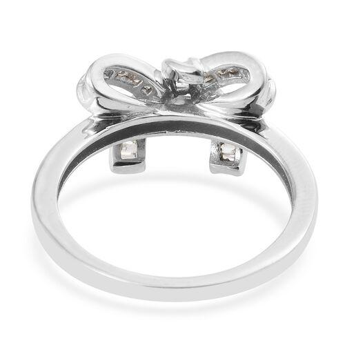 Mega Birthday Deal-Diamond (Bgt) Bow Knot Ring in Platinum Overlay Sterling Silver 0.330 Ct.