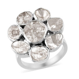 1.90 Ct Polki Diamond Floral Ring in Platinum Plated Sterling Silver 7.15 Grams