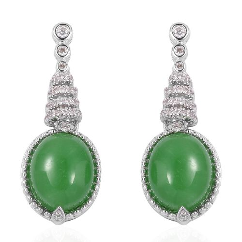 Green Jade (Oval 12x10 mm), Natural White Cambodian Zircon Earrings (With Push Back) in Rhodium Over