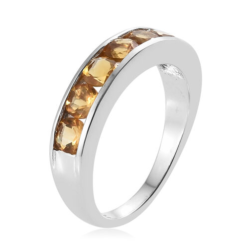 AA Citrine (Rnd) Half Eternity Ring in Platinum Overlay Sterling Silver 1.00 Ct.