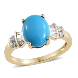 2 Carat AAA Sleeping Beauty Turquoise and Diamond Solitaire Drop Ring in 9K Gold 2.05 Grams
