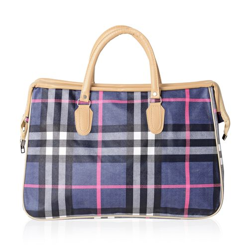 Black Colour with Fuchsia Check Pattern Large Weekend Handbag with Adjustable Shoulder Strap (Size 47x20x31 Cm)