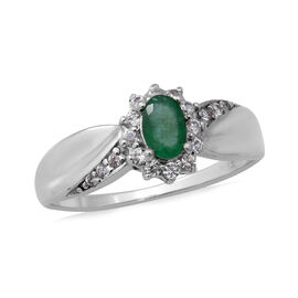 Zambian Emerald (Ovl 6x4mm), Natural Cambodian White Zircon Ring in Rhodium Overlay Sterling Silver