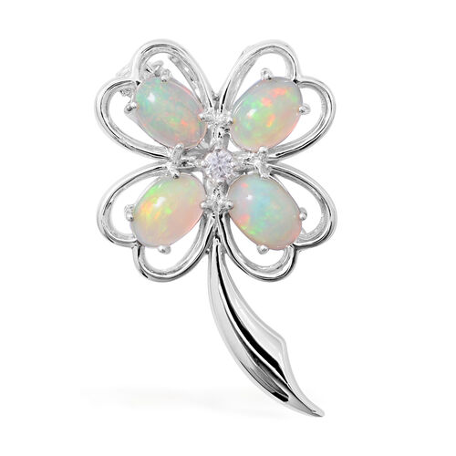 Designer Inspired-Ethiopian Opal (Pear),Cambodian Natural Zircon in Sterling Silver Brooch 2.046  Ct.