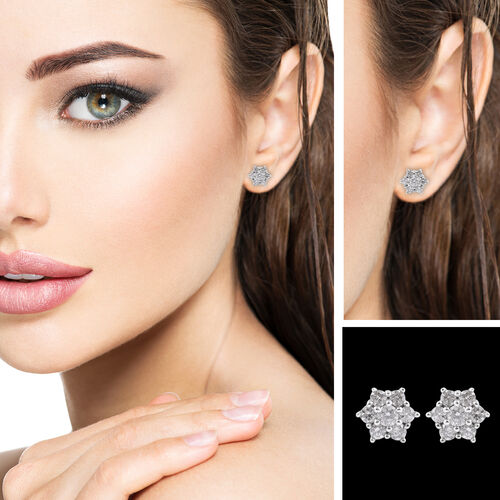 9K White Gold SGL Certified Diamond ((I3/G-H) Floral Stud Earrings (with Push Back) 0.50 Ct.