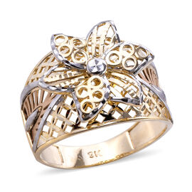 Royal Bali Floral Ring in 9K Yellow and White Gold