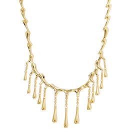 LucyQ Multi Drip Necklace (Size 16 with 4 inch Extender) in Yellow Gold Overlay Sterling Silver 44.5