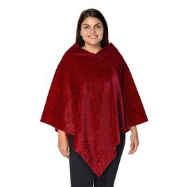 Leopard Pattern Winter Free Size Poncho (L-85 Cm) - Wine and Black