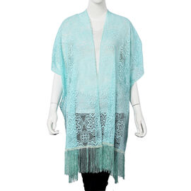 Turquoise Colour Floral Lace Kimono with Long Tassels (Size 90x80+14 Cm)