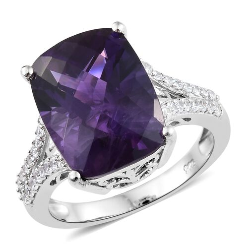 Checkerboard Cut Amethyst (Cush), Natural Cambodian Zircon Ring in Platinum Overlay Sterling Silver 10.500 Ct.