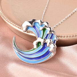 Isabella Liu Embrace Scar Collection Rhodium Overlay Sterling Silver Enamelled Pendant With Chain (Size 30)
