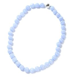 Limited Available-Extremely Rare Colour AAA Blue Lace Agate (Rnd 11 to 13 mm) Necklace (Size 20) in Rhodium Overlay Sterling Silver 446.000 Ct.