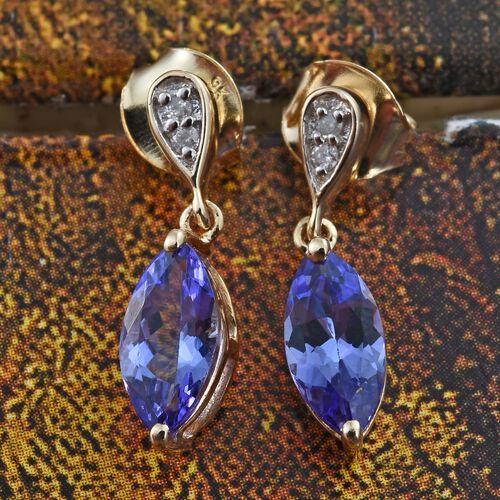 9K Yellow Gold AA Tanzanite (Mrq), Diamond (I3/G-H) Earrings (with Push Back) 1.750 Ct.