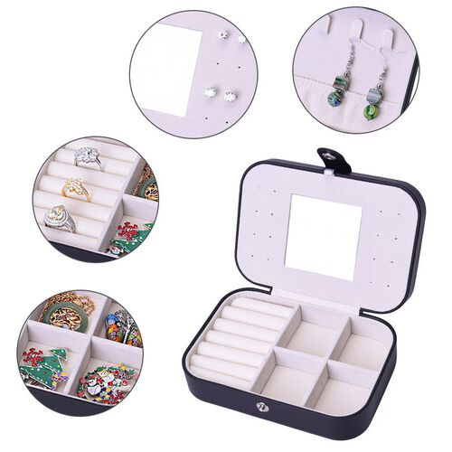 Portable and Lightweight Jewellery Organiser with Button Closure and Inside Mirror in Black Colour (Size 16.5x11.5x5.5 cm)