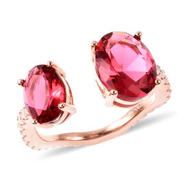 Simulated Ruby and Simulated Diamond Ring in Rose Gold Overlay Sterling Silver