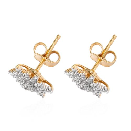 Diamond Starbust Stud Earrings (with Push Back) in 14K Gold Overlay Sterling Silver