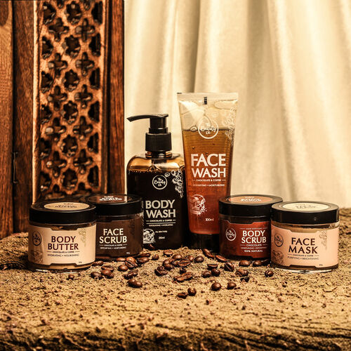 Set of 6 - The Beauty Co. Chocolate Coffee Combo for Skin Revitalizing - Inclds. Face Scrub, Face Mask, Face Wash, Body Scrub, Body Wash, Body Butter