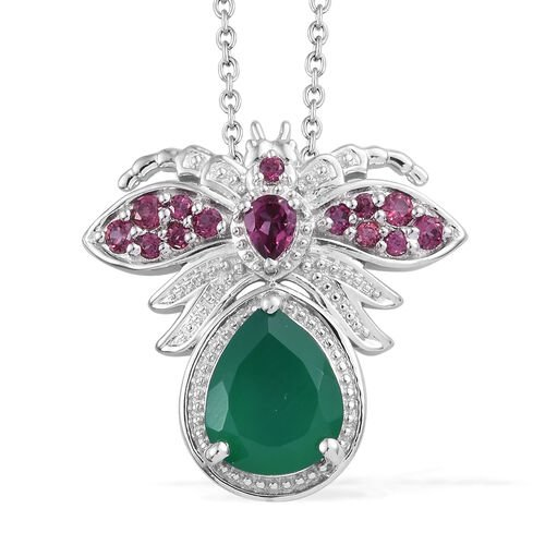 Verde Onyx (Pear 10x8 mm), Rhodolite Garnet Bee Pendant With Chain (Size 20) in Platinum Overlay Ste