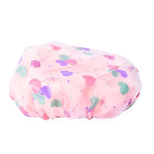 Set of 2 - 2 in 1 Non-Stretchable Shower and Dry Cap Multicolour Heart and Polka Dot Pattern - Pink