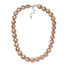 J Francis Bright Gold Crystal From Swarovski Beaded Necklace in Rhodium Plated Sterling Silver Size