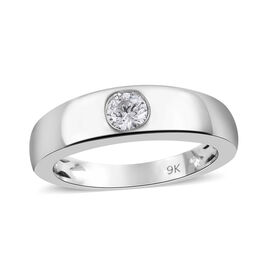 J Francis Made with Swarovski Zirconia Solitaire Ring in 9K White Gold 3.4 Grams
