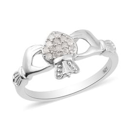 White Diamond Claddagh Ring in Platinum Overlay Sterling Silver