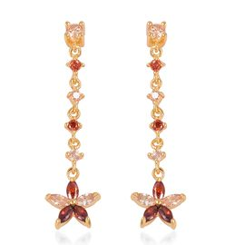 ELANZA Simulated Champagne Diamond and Simulated Garnet Dangle Earrings in Gold Plated Sterling Silv