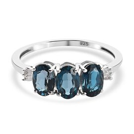 London Blue Topaz and Diamond Ring in Platinum Overlay Sterling Silver 1.66 Ct.