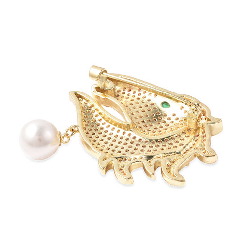Simulated Diamond, Simulated Emerald and White Shell Pearl Horse Brooch in Gold Tone