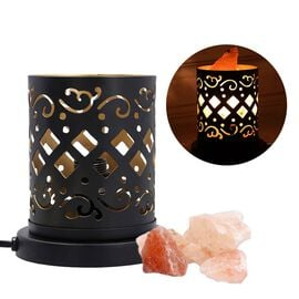 Handcrafted Abstract Pattern Table Lamp With Rock Salt (Size15x10x13cm) - Black