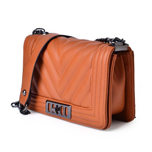 Orange and Chocolate Colour Crossbody Bag with Shoulder Strap (Size 24.5x14x7 Cm)