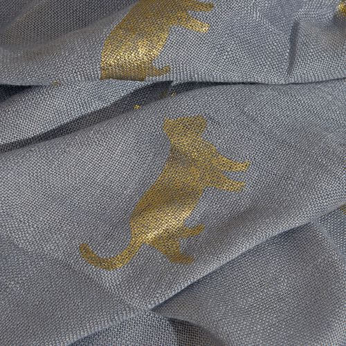 Designer Inspired - Grey and Golden Colour Foil Dogs and Cats Printed Scarf with Fringes Size (200X65 Cm)