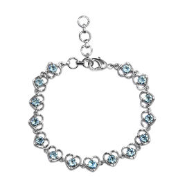 J Francis - Crystal from Swarovski Aquamarine Colour Crystal (Rnd) Heart Bracelet (Size 6.5 with 1 i