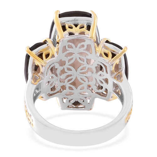 Brazilian Smoky Quartz (Cush 10.00 Ct) Ring in Rhodium and 14K Gold Overlay Sterling Silver 21.000 Ct.