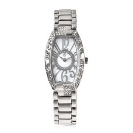 STRADA Japanese Movement White Austrian Crystal Studded Water Resistant Watch with Chain Strap in Si