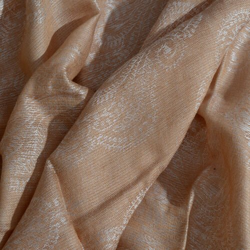 Damask Pattern Dark Cream Colour Jacquard Scarf with Tassels (Size 180x70 Cm)