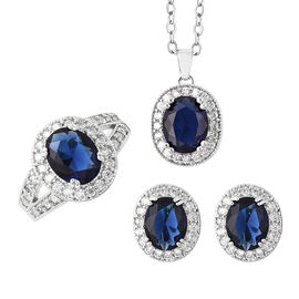 3 Piece Set- Simulated Tanzanite and Simulated White Diamond Ring, Earrings (with Clasp) and Pendant