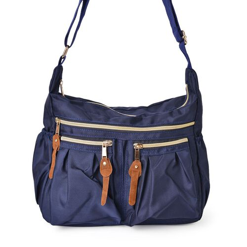 Designer Inspired- Navy Colour Multi Pocket Waterproof Crossbody Bag with Adjustable Shoulder Strap (Size 31X22X11 Cm)