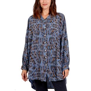 Nova of London 100% Viscose Zebra Pattern High Low Shirt (Size 81x90Cm) - Denim Blue