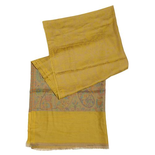 88% Merino Wool and 12% Silk Yellow and Multi Colour Scarf with Fringes (Size 180x70 Cm)