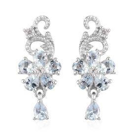 Santa Teresa Aquamarine and Natural Cambodian Zircon Dangle Earrings (with Push Back) in Platinum Ov