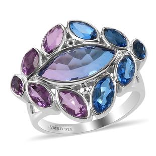Sajen Silver-Quartz Doublet Rainbow Iris Mystic Quartz , Celestial Royal Blue Mystic Quartz, Celesti