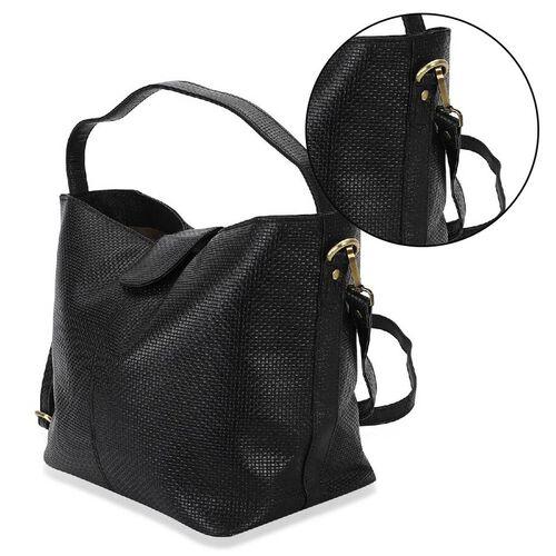 100% Genuine Leather Hobo Shoulder Bag with Detachable Strap (Size 42x25x18 Cm) - Black
